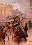 Busy street scene in London, England, on a rainy day. A policeman in a Macintosh cape points out the way, ladies hold their open umbrellas in an effort to keep themselves dry. Horse-drawn buses and hansom cabs pass along the wet road.  Kronheim chromolith