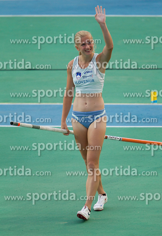 Tina Sutej of Slovenia after competing in the Womens Pole Valut Final during day four of the 20th European Athletics Championships at the Olympic Stadium on July 30, 2010 in Barcelona, Spain.  (Photo by Vid Ponikvar / Sportida)