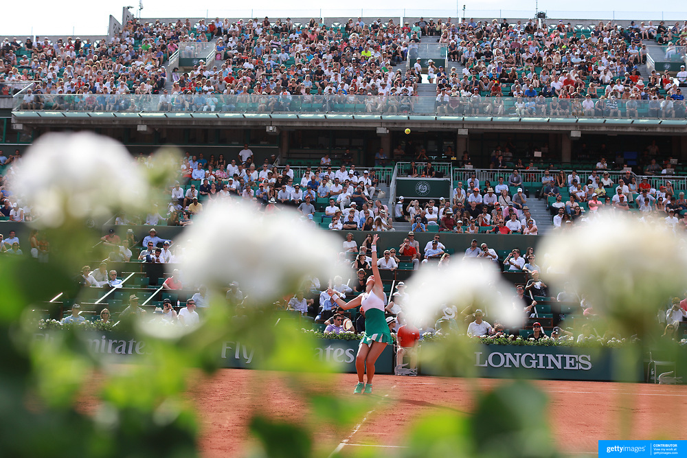 2017 French Open Tennis Tournament - Day Two.  Kristina Mladenovic of France serving against Jennifer Brady of the United States on Court Philippe-Chatrier during the women's Singles Round one match at the 2017 French Open Tennis Tournament at Roland Garros on May 29th, 2017 in Paris, France.  (Photo by Tim Clayton/Corbis via Getty Images)