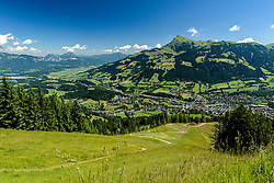 THEMENBILD - Der Blick vom Super-G Start auf die Seidlalm mit der Stadt und dem Kitzbüheler Horn im Hintergrund, aufgenommen am 26. Juni 2017, Kitzbühel, Österreich // The view from the Super-G start to the Seidlalm with the city and the Kitzbüheler Horn in the background at the Streif, Kitzbühel, Austria on 2017/06/26. EXPA Pictures © 2017, PhotoCredit: EXPA/ Stefan Adelsberger