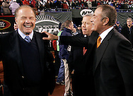 Former ABC Monday Night Football announcer Frank Gifford and current announcer Al Michales on the field before the last Monday Night Football game on ABC between the New York Jets and the New England Patriots at Giants Stadium