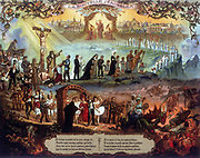 The New Jerusalem. Christ who has redeemed the world through his Crucifixion waits at the entrance to The New Jerusalem to welcome the saved, while those who have ignored his message and sacrifice go down to hell. 19th-20th century popular chromolithograph.