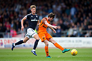 Dundee United midfielder Sam Stanton (#12) shoots during the Betfred Scottish Cup group stage match between Dundee and Dundee United at Dens Park, Dundee, Scotland on 29 July 2017. Photo by Craig Doyle.