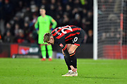 David Brooks (20) of AFC Bournemouth feels an injury in his ankle after scoring a goal to give a 2-0 lead to the home team during the Premier League match between Bournemouth and Chelsea at the Vitality Stadium, Bournemouth, England on 30 January 2019.