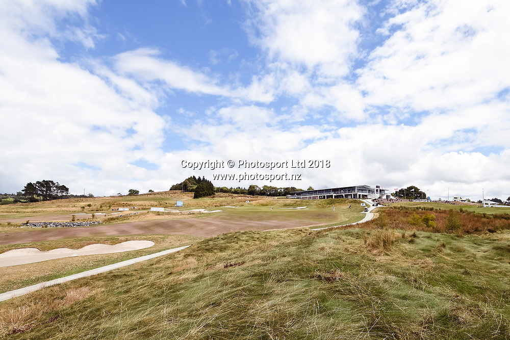 Wainui Golf Course general view, club house and 9th hole fairway.<br /> NZ Rebel Sports Masters, Wainui Golf Club, Wainui, Auckland, New Zealand. 14 January 2018. &copy; Copyright Image: Marc Shannon / www.photosport.nz.