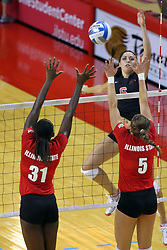 28 AUG 2009: Hailey Kelley and Jessica Pratapas defend Carolina Solano-Bloodworth's attack. The Redbirds of Illinois State defeated the Runnin' Bulldogs of Gardner-Webb in 3 sets during play in the Redbird Classic on Doug Collins Court inside Redbird Arena in Normal Illinois