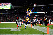 LA Rams Wide Receiver Josh Reynolds (83) fingertips short of a touchdown during the International Series match between Los Angeles Rams and Cincinnati Bengals at Wembley Stadium, London, England on 27 October 2019.