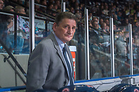 KELOWNA, CANADA - MARCH 24: Don Hay, head coach of the Kamloops Blazers, stands on the bench against the Kelowna Rockets on March 24, 2017 at Prospera Place in Kelowna, British Columbia, Canada.  (Photo by Marissa Baecker/Shoot the Breeze)  *** Local Caption ***