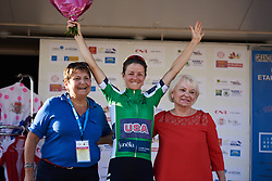 Ruth Winder (USA) leads the sprints competition at Tour Cycliste Féminin International de l'Ardèche 2018 - Stage 6, a 113.7km road race from Savasse to Montboucher sur Jabron, France on September 17, 2018. Photo by Sean Robinson/velofocus.com