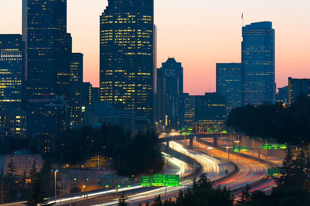 Interstate 5 and downtown, Seattle, Washington State, USA