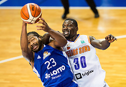 Quantez Robertson of Fraport Skyliners vs Kyle David Casey #30 of Helios Suns during basketball match between KK Helios Suns (SLO) and Fraport Skyliners (GER) in Round #3 of FIBA Champions League 2016/17, on November 2, 2016 in Sports Hall Domzale, Slovenia. Photo by Vid Ponikvar / Sportida