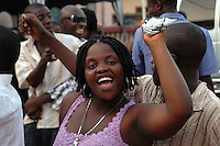 GHANA,Accra,Kokomlemle, 2007. A wedding brings guests from all over the neighborhood together at a spirited outside celebration.