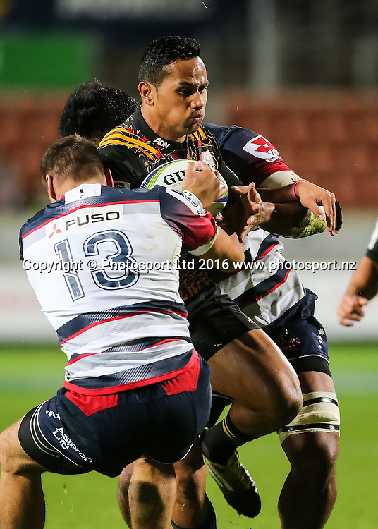 Chiefs winger Toni Pulu in action during the Super Rugby match - Chiefs v Rebels played at FMG Stadium Waikato, Hamilton, New Zealand on Saturday 21 May 2016. <br /> <br /> Copyright Photo: Bruce Lim / www.photosport.nz