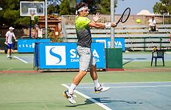 Lucas Miedler (AUT) in action during Day 5 at ATP Challenger Zavarovalnica Sava Slovenia Open 2018, on August 7, 2018 in Sports centre, Portoroz/Portorose, Slovenia. Photo by Vid Ponikvar / Sportida