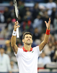 SHANGHAI, Oct. 13, 2018  Novak Djokovic of Serbia celebrates his victory after the singles semifinal match against Alexander Zverev of Germany at 2018 ATP Shanghai Masters tennis tournament in Shanghai, east China, Oct. 13, 2018. Djokovic won 2-0. (Credit Image: © Ding Ting/Xinhua via ZUMA Wire)