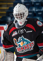 KELOWNA, CANADA - SEPTEMBER 9: Michael Herringer #30 of Kelowna Rockets warms up against the Kamloops Blazers on September 9, 2016 at Prospera Place in Kelowna, British Columbia, Canada.  (Photo by Marissa Baecker/Shoot the Breeze)  *** Local Caption *** Michael Herringer;