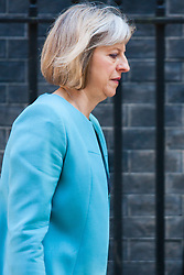 London, July 22nd 2014. Home Secretary Theresa May leaves number ten after the cabinet meeting at Downing Street