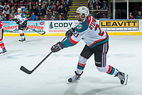 KELOWNA, CANADA - APRIL 8: Devante Stephens #21 of the Kelowna Rockets passes the puck against the Portland Winterhawks on April 8, 2017 at Prospera Place in Kelowna, British Columbia, Canada.  (Photo by Marissa Baecker/Shoot the Breeze)  *** Local Caption ***