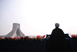 Iranian President Hassan Rouhani delivers a speech at Azadi Square in the capital Tehran during a ceremony to mark the 38th anniversary of the Islamic revolution on February 10, 2017. Photo by Parspix/ABACAPRESS.COM