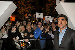 Premier of Skyfall in Madrid. Javier Bardem supports a few demonstrators in the doors of the cinema, October 29, 2012. Photo by Rogelio Pinate /Sevenpixnews / i-Images...SPAIN OUT.UK ONLY