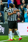 Jose Salomon Rondon (#9) of Newcastle United celebrates Newcastle United's first goal (1-0) with Ki Sung-Yueng (#4) of Newcastle United during the Premier League match between Newcastle United and Bournemouth at St. James's Park, Newcastle, England on 10 November 2018.