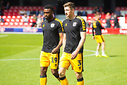 Port Vale defender Adam Crookes and Port Vale midfielder David Amoo before the EFL Sky Bet League 2 match between Salford City and Port Vale at Moor Lane, Salford, United Kingdom on 17 August 2019.