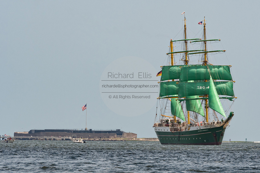 The German Barque Alexander von Humboldt II sails past historic Fort Sumter in Charleston Harbor during the parade of sails kicking off the Tall Ships Charleston festival May 18, 2017 in Charleston, South Carolina. The festival of tall sailing ships from around the world will spend three-days visiting historic Charleston.