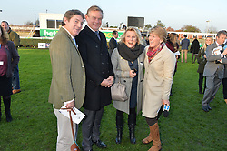 Left to right, CHARLIE BROOKS, MARTIN CLUNES, JENNIFER SAUNDERS and CLARE BALDING at the 2014 Hennessy Gold Cup at Newbury Racecourse, Newbury, Berkshire on 29th November 2014.  The Gold Cup was won by Many Clouds ridden by Leighton Aspell.