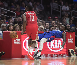 October 21, 2018 - Los Angeles, California, U.S - Patrick Beverley #21 of the Los Angeles Clippers fouls James Harden #13 of the Houston Rockets during their NBA game on Sunday October 21, 2018 at the Staples Center in Los Angeles, California. (Credit Image: © Prensa Internacional via ZUMA Wire)