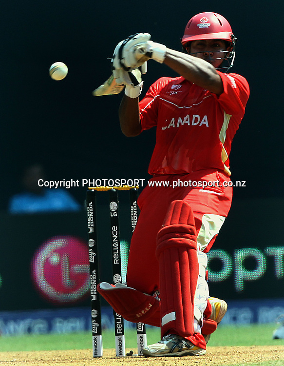 Canada batsman Ashish Bagai plays a shot against New Zealand During the ICC Wolrd Cup-2011 Canada vs New Zealand match Played at Wankhede Stadium, Mumbai