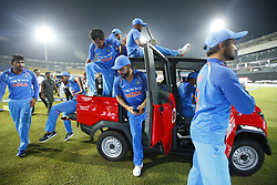 September 3, 2017 - Colombo, Sri Lanka - The Indian cricket captain Virat Kohli(M)  and team mates take a ride in a van after winning the ODI series against the host Sri Lanka by 5-0 after the 5th and final One Day International cricket match between Sri Lanka and India at the R Premadasa international cricket stadium at Colombo, Sri Lanka on Sunday 3 September 2017. (Credit Image: © Tharaka Basnayaka/NurPhoto via ZUMA Press)