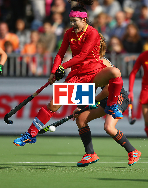 BRUSSELS, BELGIUM - JULY 02: Qiuxia Cui of China dives in to block a shot during the Final match between the Netherlands and China on July 2, 2017 in Brussels, Belgium. (Photo by Steve Bardens/Getty Images for FIH) *** Local Caption *** Qiuxia Cui