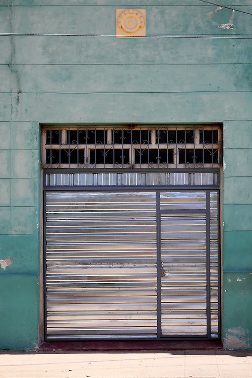 Silver door in Camaguey city, Camaguey, Cuba.