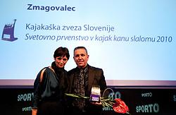 Maja Makovec Brencic and Ivo Tomc of SLOKA 2010 during Sporto  2010 Gala Dinner and Awards ceremony at Sports marketing and sponsorship conference, on November 29, 2010 in Hotel Slovenija, Portoroz/Portorose, Slovenia. (Photo By Vid Ponikvar / Sportida.com)