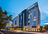 Dusk exterior of the new Westin Jackson Hotel, designed by ESG Architects.