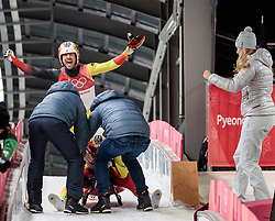 14.02.2018, Olympic Sliding Centre, Pyeongchang, KOR, PyeongChang 2018, Rodeln, Zweisitzer, Herren, im Bild Tobias Wendl und Tobias Arlt (GER, 1. Platz) und Natalie Geisenberger (GER) // gold medalist and Olympic champion Tobias Wendl and Tobias Arlt of Germany and Team mates during the mens doubles luge of the Pyeongchang 2018 Winter Olympic Games at the Olympic Sliding Centre in Pyeongchang, South Korea on 2018/02/14. EXPA Pictures © 2018, PhotoCredit: EXPA/ Johann Groder