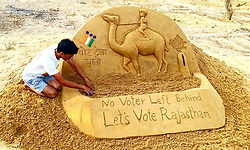 May 4, 2019 - Pushkar, Rajasthan, India - Sand sculptures are seen at the desert of Pushkar, Rajasthan, India on 5 May 2019.  Creating by Indian sand artist Ajay Rawat for the Fifth Phase of General Elections in India. (Credit Image: © Str/NurPhoto via ZUMA Press)