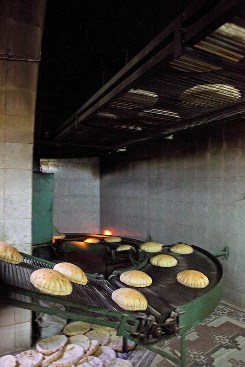 Syrian flatbread in a small bread factory, Aleppo