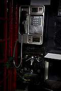 Public telephone booth pay phone interior Britain