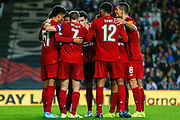 GOAL 0-2 Liverpool defender Ki-Jana Hoever (51) scores and celebrates with his Liverpool teammates during the EFL Cup match between Milton Keynes Dons and Liverpool at stadium:mk, Milton Keynes, England on 25 September 2019.
