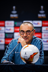 Handout photo provided by UEFA. Chelsea manager Maurizio Sarri during a press conference at The Olympic Stadium, Baku.