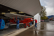 1929 Brunner Winkle Bird A, owned earlier by Melba Beard - charter member of the 99s - then inherited by Arlene Beard, being pushed out of the hangar.