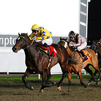 Pearl Rebel and William Carson winning the 4.45 race