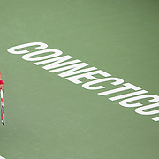 August 21, 2014, New Haven, CT:<br /> Petra Kvitova serves during a match against Barbora Zahlavova Strycova on day seven of the 2014 Connecticut Open at the Yale University Tennis Center in New Haven, Connecticut Thursday, August 21, 2014.<br /> (Photo by Billie Weiss/Connecticut Open)