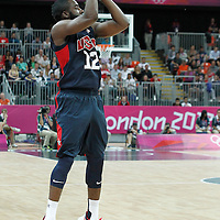 31 July 2012: USA James Harden takes a three points jumpshot during 110-63 Team USA victory over Team Tunisia, during the men's basketball preliminary, at the Basketball Arena, in London, Great Britain.