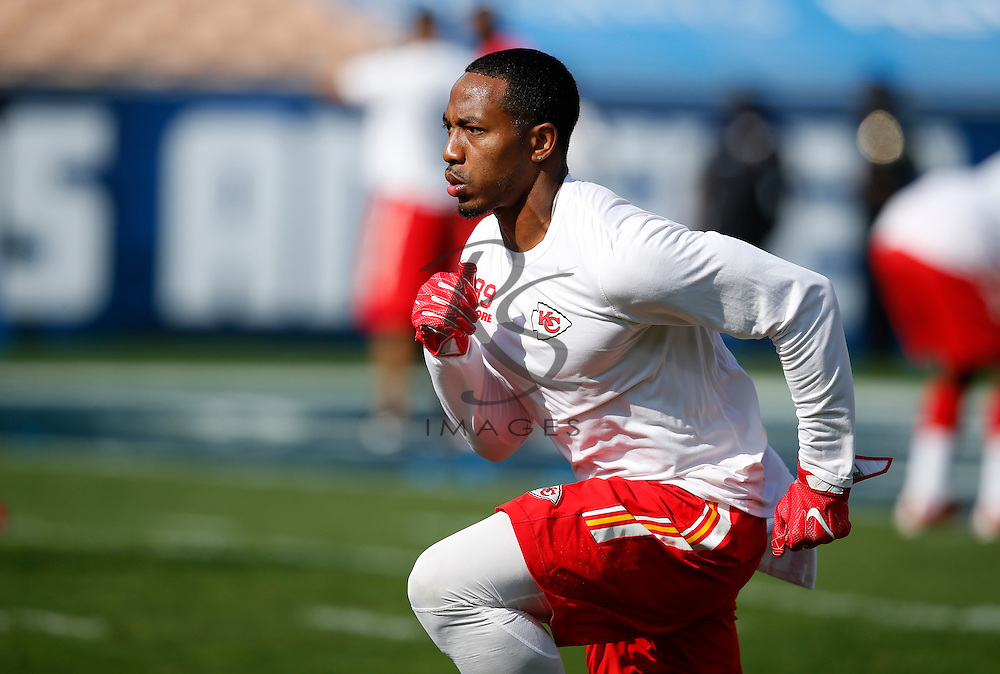 Kansas City Chiefs wide receiver Kashif Moore warms up prior to a preseason NFL football game against the Los Angeles Rams, Saturday, Aug. 20, 2016, in Los Angeles. (AP Photo/Rick Scuteri)