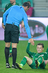 Referee Nejc Kajtazovic, Stefan Savic during football match between NK Olimpija Ljubljana and NK Aluminij in semi final of Slovenian Cup 2018/19, on April 23, 2019 in Stozice Stadium, Ljubljana, Slovenia. Photo by Morgan Kristan