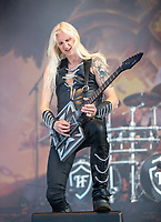 2019-06-08 | Norje, Sweden: Hammerfall performing at Sweden Rock Festival 2019 (Photo by: Roger Linde | Swe Press Photo )<br /> <br /> Keywords: Sweden Rock Festival, Norje, Festival, Music, SRF, Hammerfall