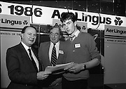 10/01/1986.01/10/1986.10th January 1986.The Aer Lingus Young Scientist of the Year Exhibition at the RDS, Dublin...Picture shows Con Power, (left) Director, Economic Policy, Confederation of Irish Industries, presenting the CII Award for the Physical, Mathematical and Applied Sciences, Intermediate Pupils, to Brian Gribben of St. Olcan's Secondary School, Randlestown, Co. Antrim. Also pictured is Niall G. Weldon, Chairman of the Panel of Judges. Brian's winning project was entitled 'Computer Controlled Pig Feed Unit'. ..