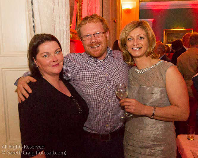 (l to r) Ena Prosser, Alan Henry, and Marie Barry at the reunion night to celebrate 50 years of the Irish Fireball Class, held at the Royal St George YC.